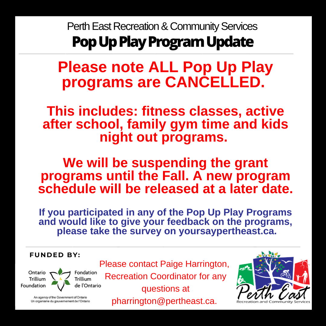 All Pop Up Play Programs Cancelled.