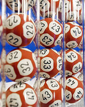 Lottery number balls in tubed