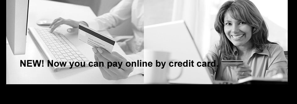 Banner photo of woman paying online with credit card, to online credit card payments page