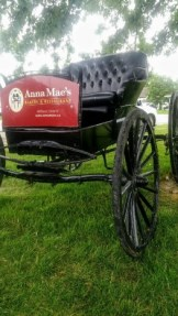 Black Buggy on lawn with Anna Mae's Bakery and Restaurant sign